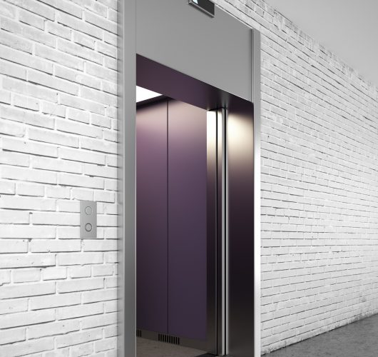 Side view of Modern elevator with closed doors